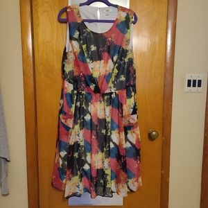 Watercolor dress with pockets!